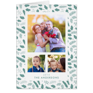 Merry Berry 3 Photo Christmas Green Card
