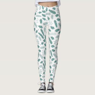 Merry Berry Green Holly & Pine Winter Pattern Leggings