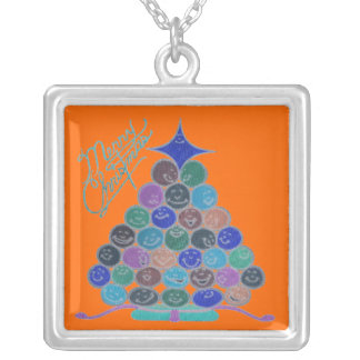 Merry Blue Christmas Tree Quilt Panel Square Pendant Necklace