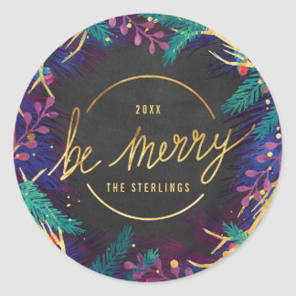 Merry Botanicals Holiday Gift Label Sticker