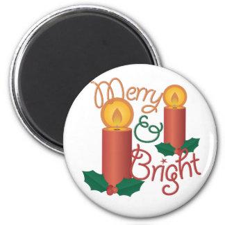 Merry & Bright 6 Cm Round Magnet