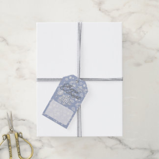 Merry & Bright • 6-Point Snowflake • Blue & White Gift Tags