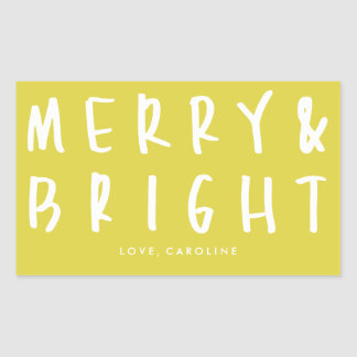 Merry & Bright Bold Chartreuse Holiday Stickers