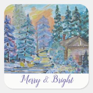 Merry & Bright - Cabin in the Woods Scene (20) Square Sticker