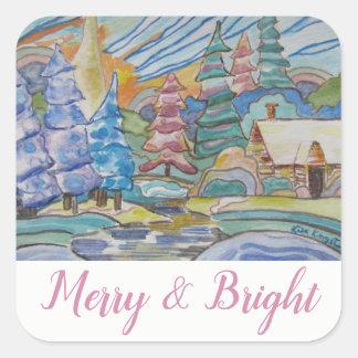 Merry & Bright - Canada Winter Abstract Scene (20) Square Sticker