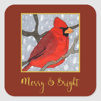 Merry & Bright Cardinal in the Snow Holiday Square Sticker
