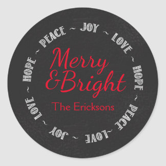 Merry & Bright Chalkboard Christmas Sticker