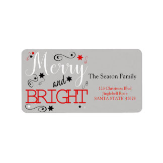 Merry & Bright chalkboard stars holiday label
