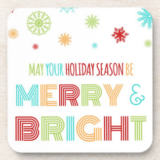 Merry & Bright Christmas Colorful Snowflakes Coasters