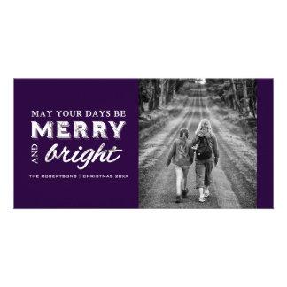 Merry & Bright - Christmas Dark Purple Customized Photo Card
