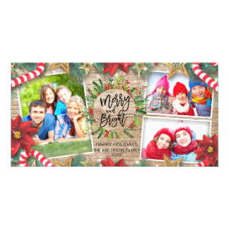 Merry Bright Christmas Holiday Greeting Photo Personalized Photo Card