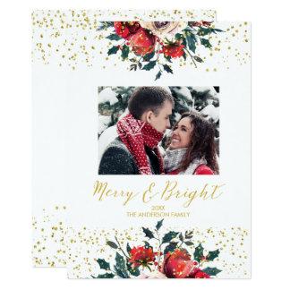 Merry & Bright christmas holiday photo card holly