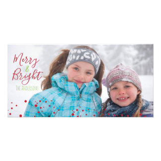 Merry & Bright Christmas Holiday Photocard Card
