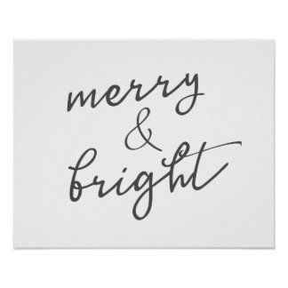Merry & Bright Christmas Holiday Poster