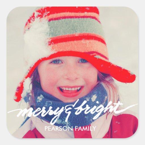 Merry & Bright Christmas Label Favorite Photo Sticker