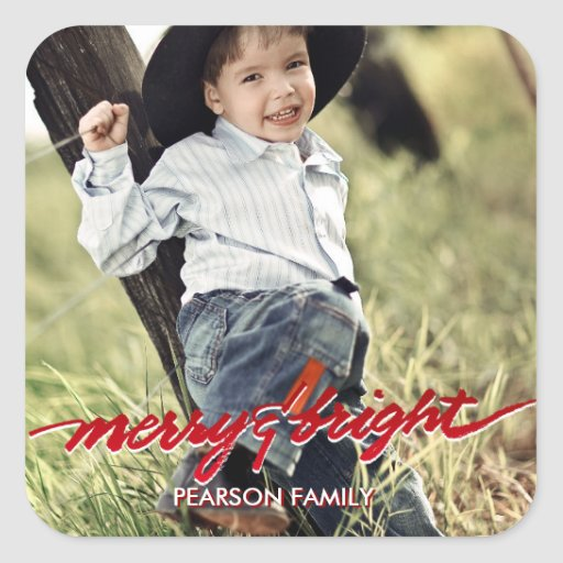 Merry & Bright Christmas Label Favorite Photo Stickers