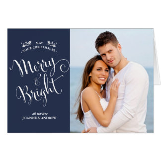 Merry & Bright Christmas Photo Card in Blue