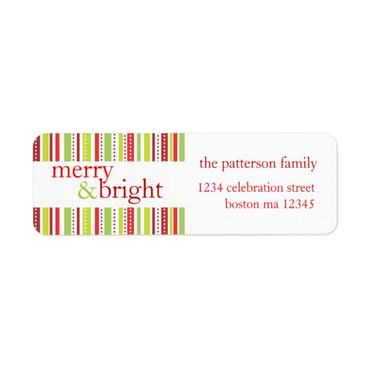 Merry & Bright Christmas Stripes Holiday Label