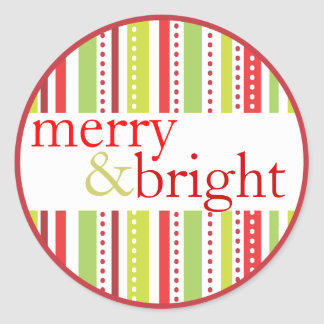 Merry & Bright Christmas Stripes Holiday Label Stickers