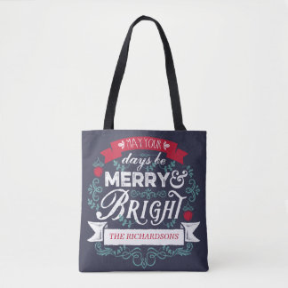 Merry & Bright Christmas Typography Custom Banner Tote Bag