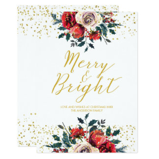 Merry & Bright christmas xmas holiday card holly