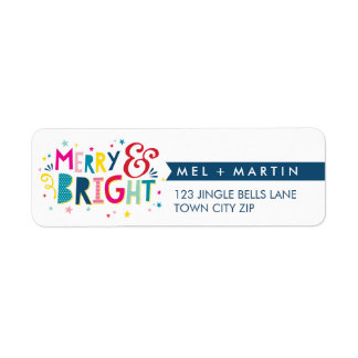 MERRY & BRIGHT colorful fun holiday address label