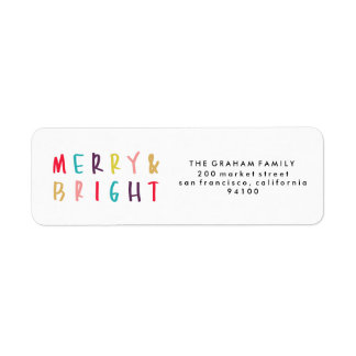 Merry & Bright Colorful Return Address Stamps Return Address Label