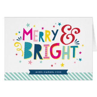 MERRY & BRIGHT colourful festive christmas holiday Card