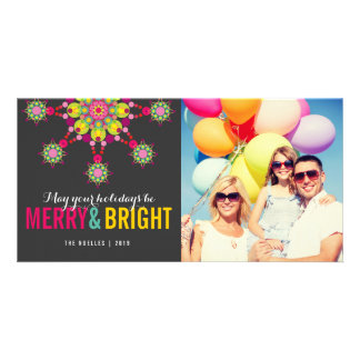 Merry & Bright Festive Star Holiday Photo Card