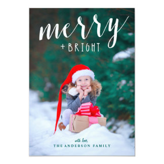 Merry & Bright Full Bleed Photo Christmas Card