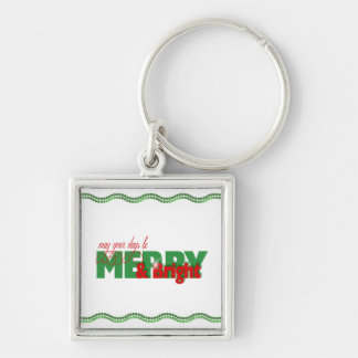 Merry & Bright Green Garland Silver-Colored Square Key Ring