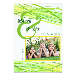 Merry & Bright Green Lines - 3x5 Christmas Card 9 Cm X 13 Cm Invitation Card