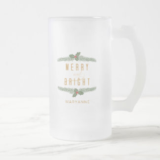 Merry & Bright, Holiday Frosted Glass Beer Mug