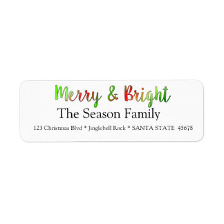 Merry & Bright holiday label