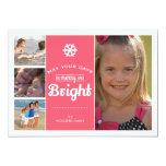 Merry Bright Holiday Photo Christmas Collage Pink Invitations