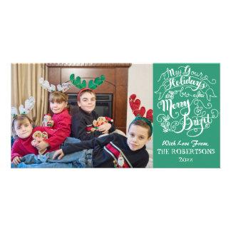 Merry Bright Holidays Green Modern Photo Christmas Customised Photo Card