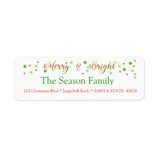 Merry & Bright holly holiday label