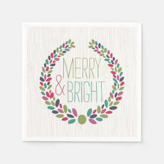Merry & Bright Modern Woodland Holiday Napkins Disposable Napkin