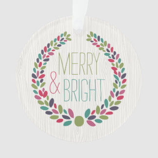 Merry & Bright Modern Woodland Holiday Ornament