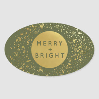Merry + Bright Oval Sticker