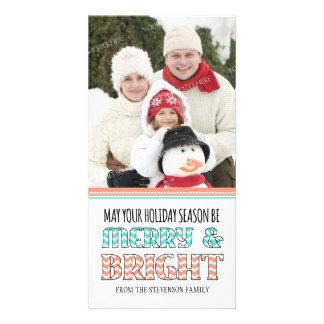 Merry & Bright Photo Card Coral Aqua Chevron
