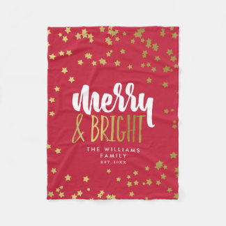Merry & Bright | Red | Faux Gold Stars Family Name Fleece Blanket
