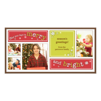 Merry & Bright Red & Green Holiday Photo Card