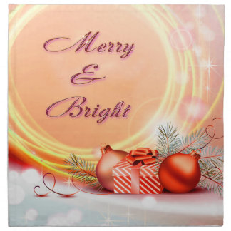 Merry & Bright Red Yellow Festive Christmas Cloth Napkins