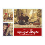 Merry & Bright Ruby 3 Photo Holiday Greeting 13 Cm X 18 Cm Invitation Card