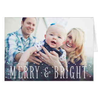 Merry & Bright Snow   Folded Holiday Greeting Card