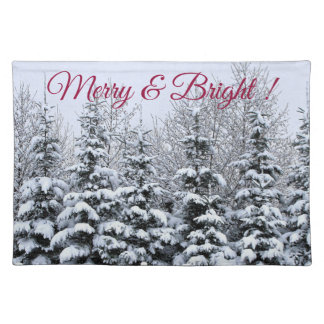 Merry & Bright , Snowy Pines, Cloth Placemat