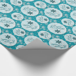 Merry & Bright • Teal • Snowflakes • Holidays Wrapping Paper