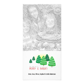 Merry & Bright Trees & White Beads Christmas Photo Card