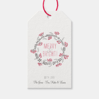 Merry & Bright Wreath Gift Tags